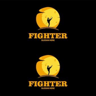 Бойцовский клуб карате кикбоксинг логотип дизайн вектор