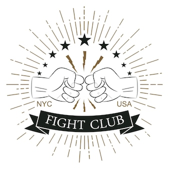 Fight club logo. hipster style. print for design clothes, t-shirt stamp with sunray, lightning and fist. typography of athletic apparel. vector illustration.