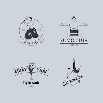 Fight club logo or mma emblem set