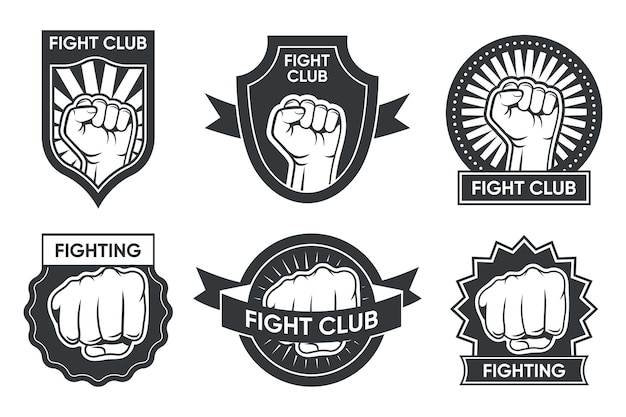 Fight club logo set. vintage monochrome emblems with arm and clenched fist, medal and ribbon. vector illustration collection for boxing or kickboxing, martial arts club labels