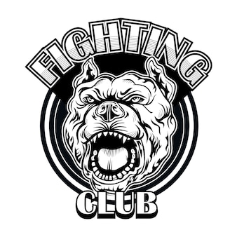 Fight club logo with bulldog. boxing and fighting club logo with angry dog. isolated vector illustration