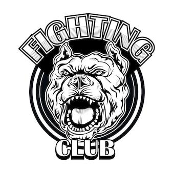 Combatti il logo del club con il bulldog. logo del club di boxe e combattimento con cane arrabbiato. illustrazione vettoriale isolato