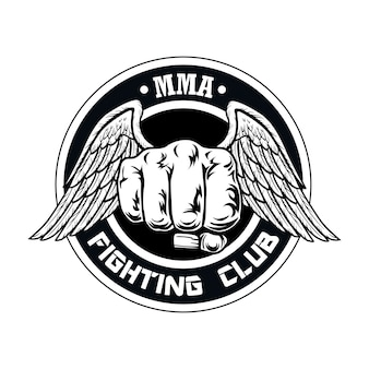 Combatti il logo del club con il pugno e le ali. logo del club di boxe e combattimento con il pugno.