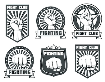 Fight club with fist vintage labels, logos, emblems vector set. Boxing sport, kickboxing logotype il
