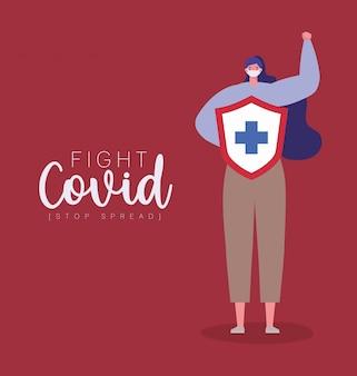 マスクとシールドを持つ女性、fight covid 19ウイルスのクロスデザインと拡散のテーマイラストを停止