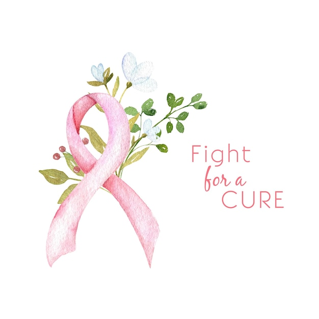 Fight for a cure watercolor breast cancer awareness concept pink ribbon with flowers