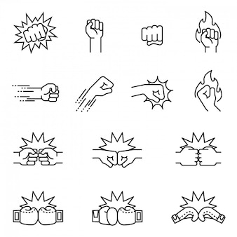 Fight, fist bump icon set concept. thin line style stock vector.