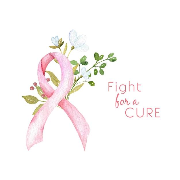 Борьба за лекарство акварельная концепция осведомленности о раке груди розовая лента с цветами