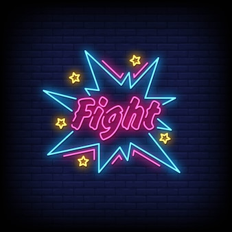 Fight neon signs style