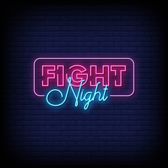 Fight night neon signboard