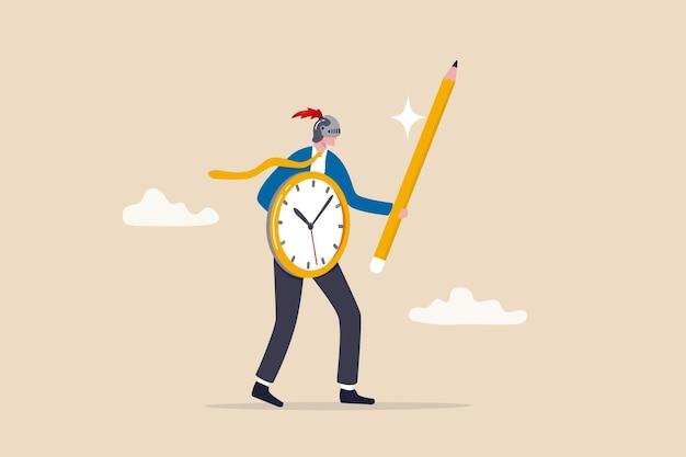 생산성 마스터 또는 효율성 전문가, 시간 관리 또는 프로젝트 마감 도전 개념, 시계 방패와 연필 칼을 사용하여 기사 투구를 착용하는 사업가를 위해 미루는 것과 싸우십시오.