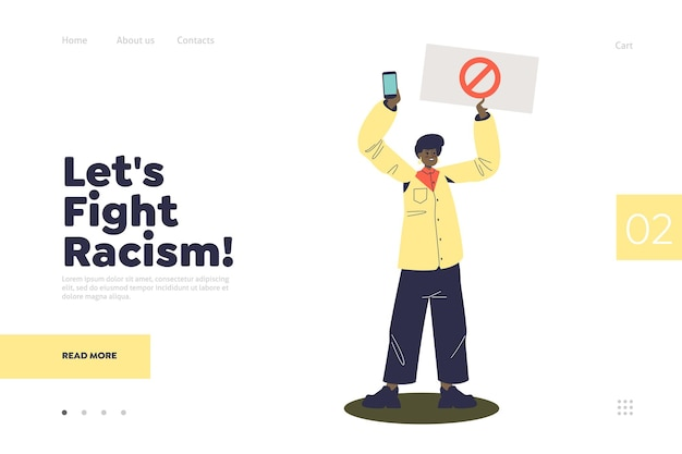 Fight racism landing page concept with diverse african woman protesting