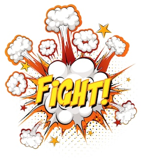 Fight text on comic cloud explosion isolated on white background