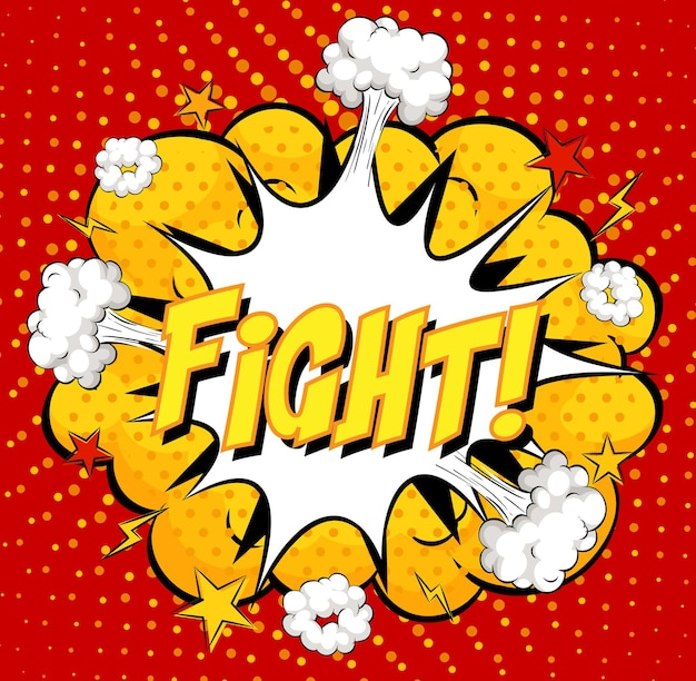 Fight text on comic cloud explosion on red