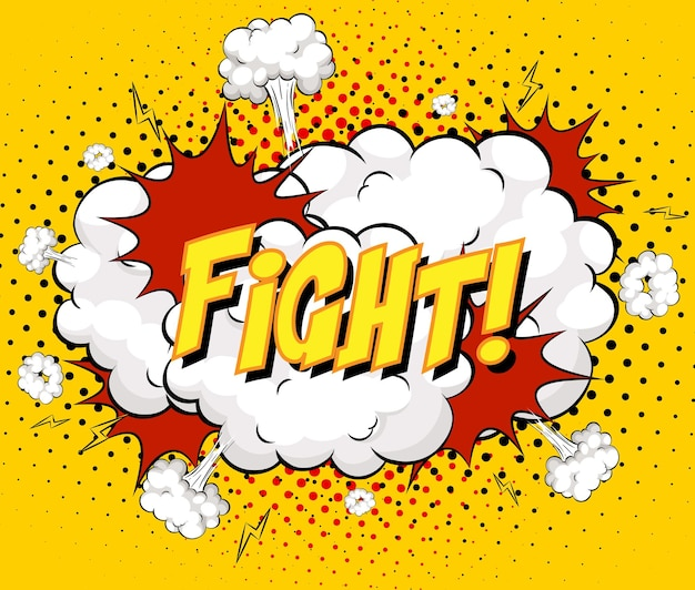 Fight text on comic cloud explosion on yellow background