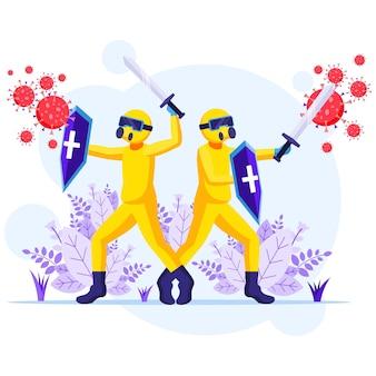 ウイルスの概念と戦う、化学防護服の消毒剤労働者は、covid-19コロナウイルスのイラストと戦うために剣と盾を使用します