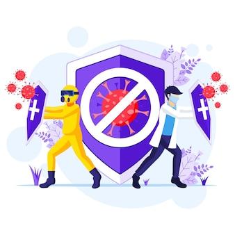 Борьба с концепцией вируса, доктор и медсестры борются с иллюстрацией коронавируса