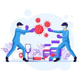 바이러스 개념과 싸우고, 의사와 간호사는 권투 장갑 펀치 covid-19 코로나 바이러스 세포 그림을 사용합니다