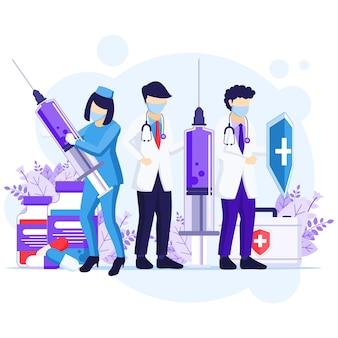 ウイルスの概念と戦う、医師と看護師はcovid-19コロナウイルスのイラストと戦うために剣と盾を使用します