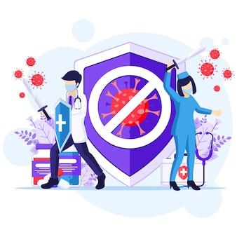 바이러스 개념과 싸우고 의사와 간호사는 칼과 방패를 사용하여 covid-19 코로나 바이러스 일러스트와 싸우십시오.