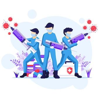 바이러스 개념과 싸우십시오. 의사와 간호사는 주사기를 사용하여 covid-19 코로나 바이러스 일러스트와 싸우십시오.