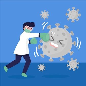 의료진과 바이러스 일러스트 싸움