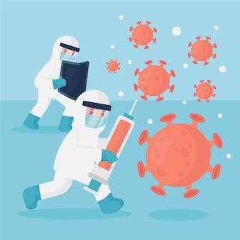 ワクチンでウイルスのイラストと戦う