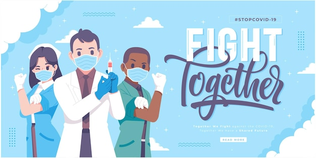 Fight together against covid19 concept banner design
