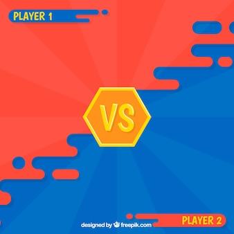 두 선수와 비디오 게임 배경 싸움