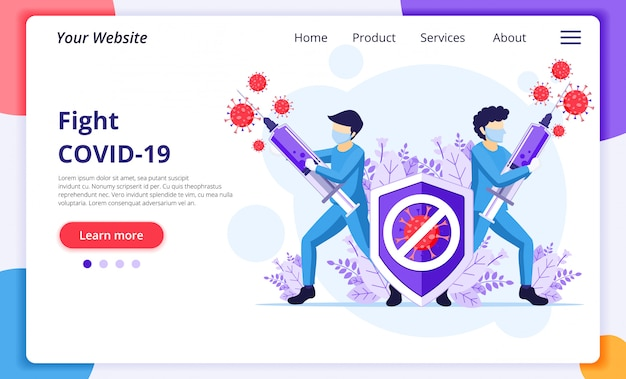 Fight the virus concept, doctor and nurses use syringe to fight covid-19 coronavirus. website landing page design template