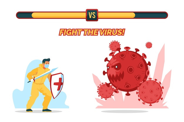 Fight the virus concept with man
