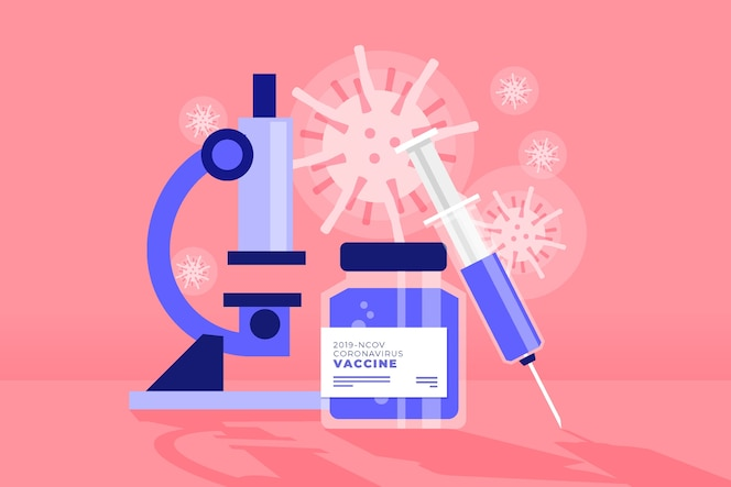 Fight the virus concept with microscope
