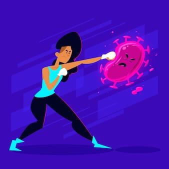 Combatti il concetto di virus con la donna