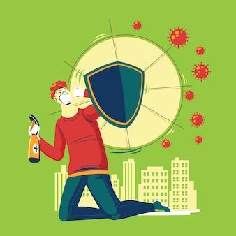 Combatti l'uomo virus con disinfettante come scudo