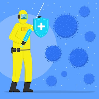 Fight the virus syringe and shield