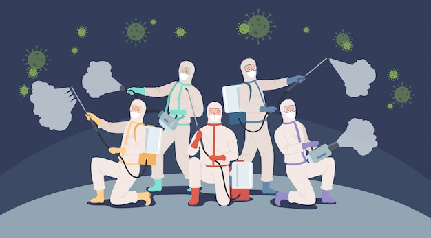 Fight with covid-19 concept. doctor team or medical health care professionals in protective suits fighting with coronavirus pandemic. illustration in a flat style