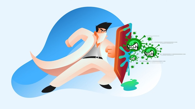 Fight with covid 19 coronavirus illustration
