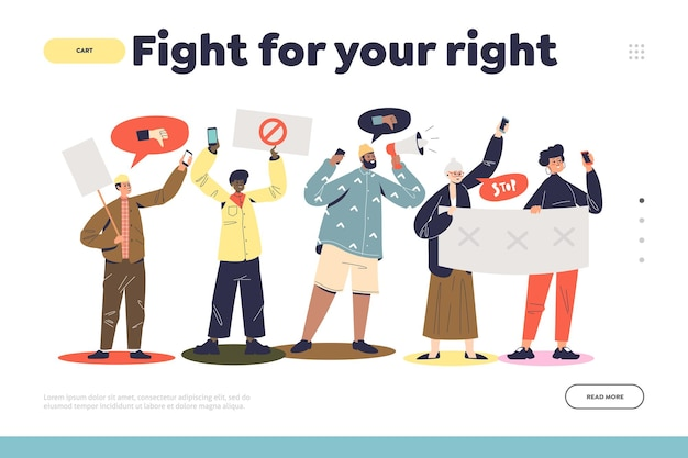 Fight for your rights landing page concept with protesting people group