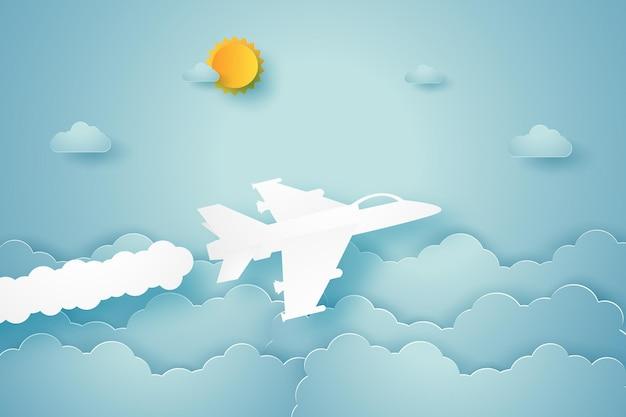 Истребитель летит в небе в стиле бумажного искусства