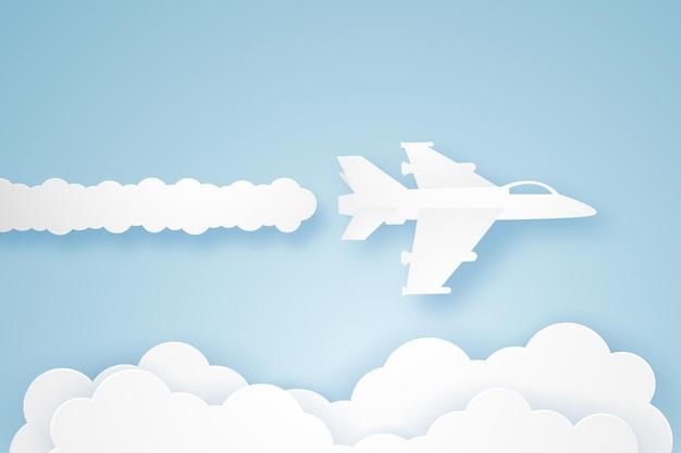 空を飛ぶ戦闘機、ペーパーアートスタイル