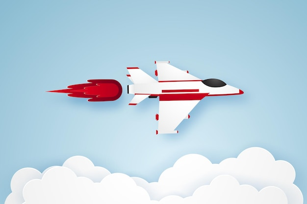 Fighter aircraft flying in the sky in paper art style
