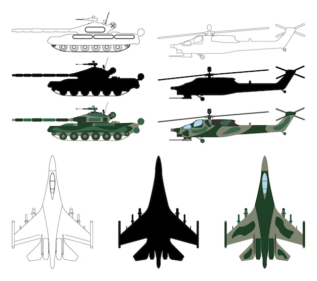Fighter aircraft, tank, helicopter in silhouette isolated cartoon style.