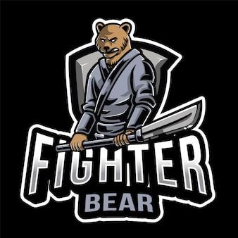 Fighter bear esport logo template