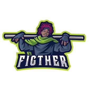 Fighter e sports logo