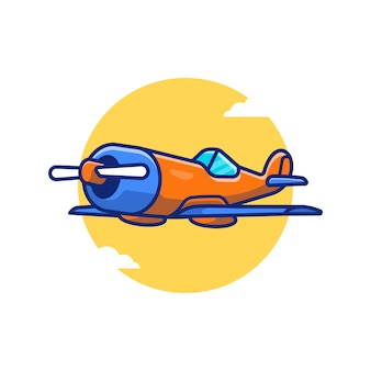 Fighter plane cartoon icon illustration. air transportation icon concept isolated premium . flat cartoon style