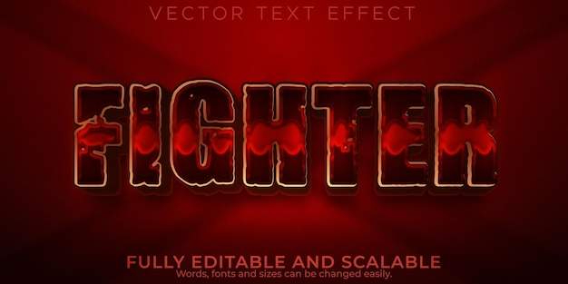 Fighter red text effect, editable sword and sparta text style