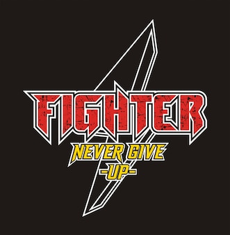 Fighter typography for print t shirt