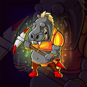 The fighter wild boar esport logo design of illustration
