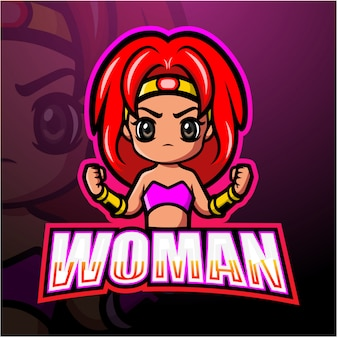 Fighter woman mascot esport illustration