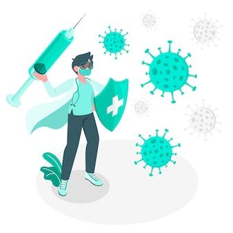 Fighting against coronavirusconcept illustration